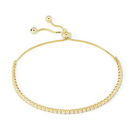 Dainty Cubic Zirconia Gold Plated Bolo Tennis Bracelet