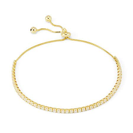 display slide 1 of 2 - Dainty Cubic Zirconia Gold Plated Bolo Tennis Bracelet - selected slide