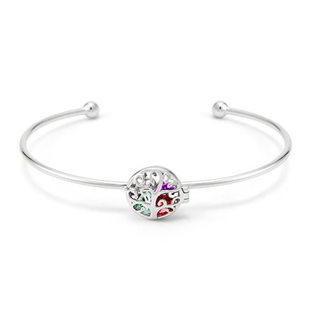 Personalized Sterling Silver Family Tree Cuff Bangle