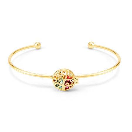 Gold Personalized Family Tree Birthstone Bracelet