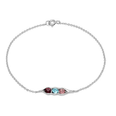 3 Stone Personalized Birthstone Peas In A Pod Bracelet