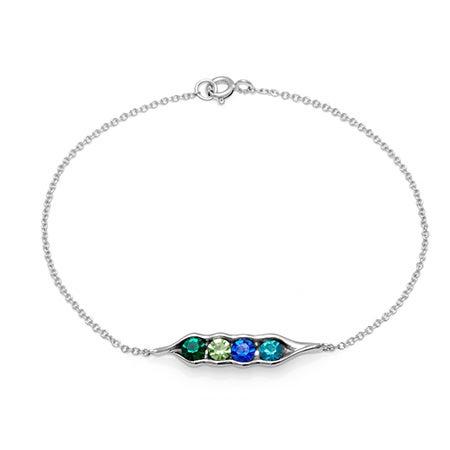 4-Stone Personal Birthstone Peas In A Pod Bracelet in Silver