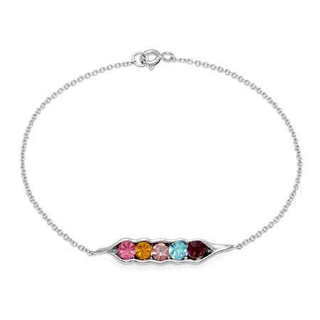5 Stone Birthstone Customized Peas In A Pod Silver Bracelet