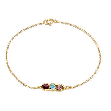 3-Stone Customized Birthstone Peas In A Pod Gold Bracelet