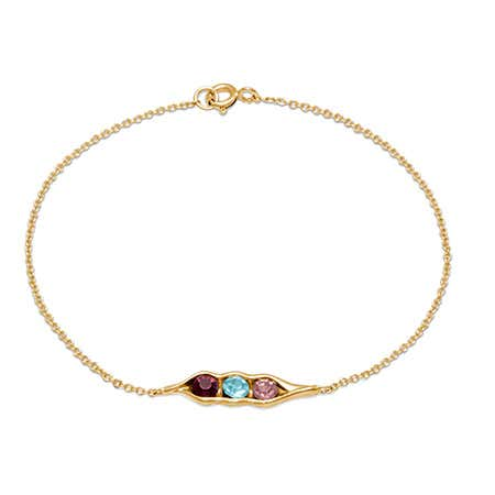 3-Stone Customized Birthstone Peas In A Pod Gold Bracelet