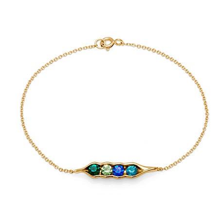 4-Stone Custom Cubic Zirconia Peas In A Pod Gold Bracelet