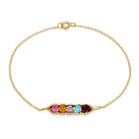 Gold-Plated Custom 5 Peas In A Pod Birthstone Bracelet