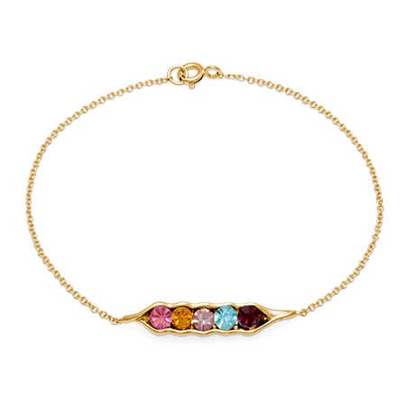 Gold-Plated Custom 5 Peas In A Pod Birthstone Bracelet