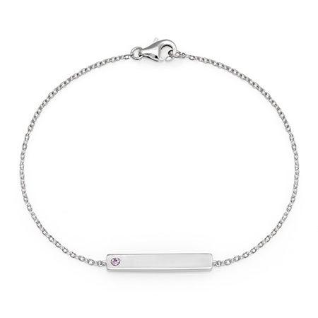 Customizable Birthstone Silver Name Bar Bracelet in Silver