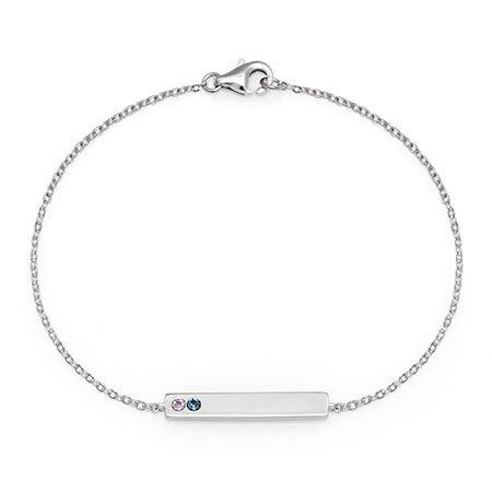 Customizable 2 Stone Birthstone Name Bar Bracelet in Silver