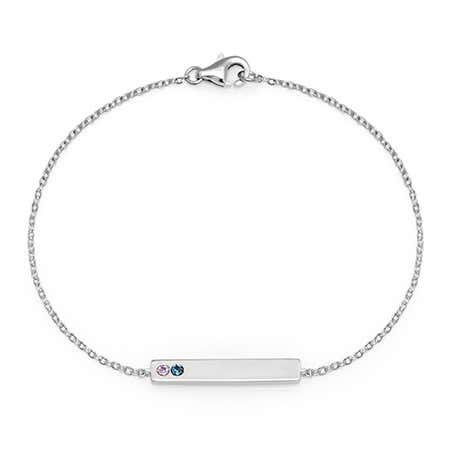 Customizable 2 Stone Birthstone Name Bar Bracelet in Silver