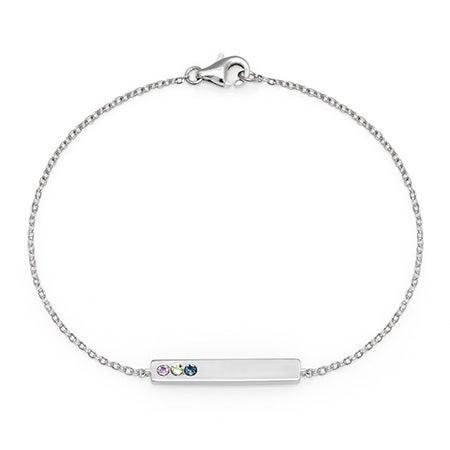 3-Stone Custom Cubic Zirconia Birthstone Bangle Bar Bracelet