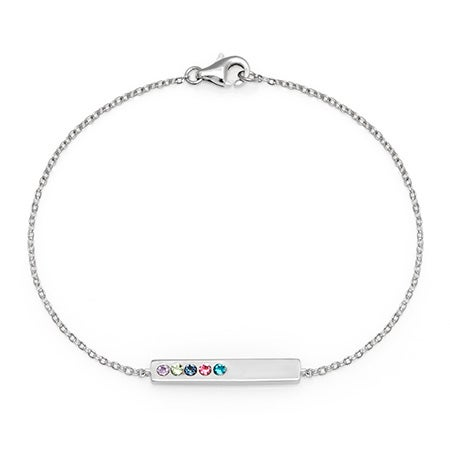 Cubic Zirconia 5-Stone Custom Name Bar Birthstones Bangle
