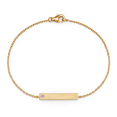 Personalized 1-Stone Birthstone Gold Name Bar Bracelet