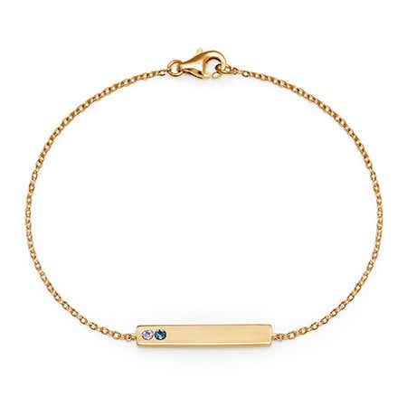 display slide 1 of 4 - Customizable 2-Stone CZ Birthstone Gold Name Bar Bracelet - selected slide