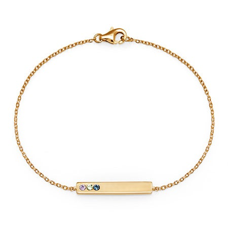 Engravable Gold Plated 3-Stone Birthstone Gold Name Bracelet
