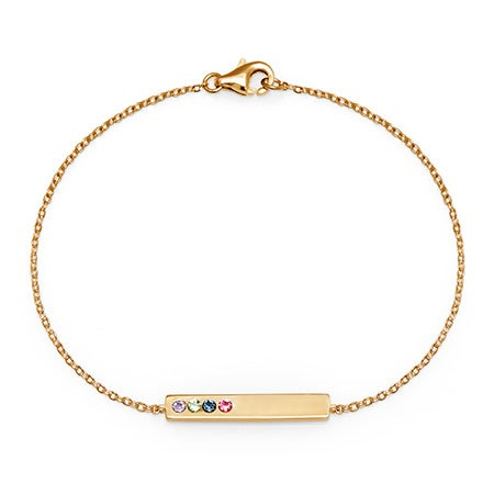 Engravable 4-Stone Birthstone Name Bar Bracelet in Gold