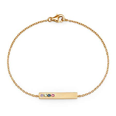 Engravable 4-Stone Birthstone Name Bar Bracelet in Gold