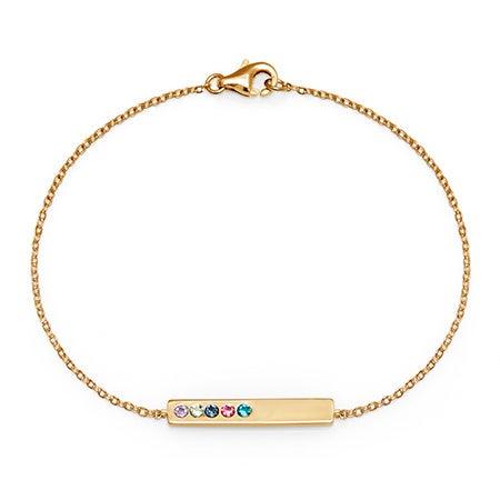 5-Stone Personalized Custom Name Birthstone Gold Bracelet
