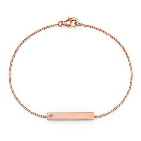 Single Stone Custom Birthstone Name Bar Rose Gold Bracelet