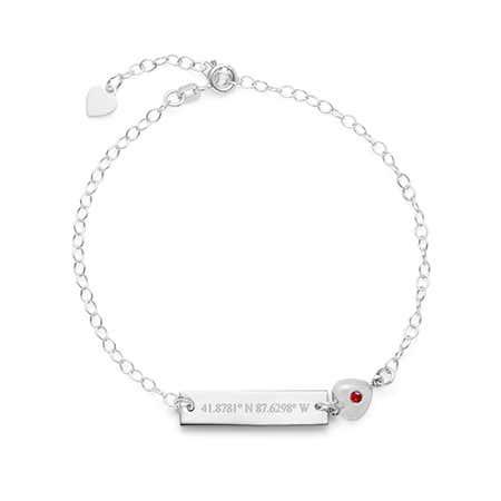 Customizable Coordinate Name Bar CZ Charm Silver Bracelet