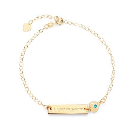 Custom Made Coordinate Name Bar CZ Heart Charm Gold Bracelet