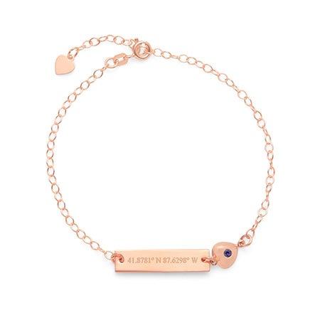 Custom Rose Gold Coordinate Name Bar CZ Heart Charm Bracelet