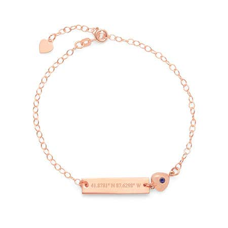 Custom Rose Gold Coordinate Name Bar CZ Heart Charm Bracelet