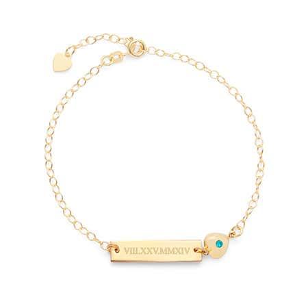 Gold Roman Numeral Name Heart Charm CZ Birthstone Bracelet
