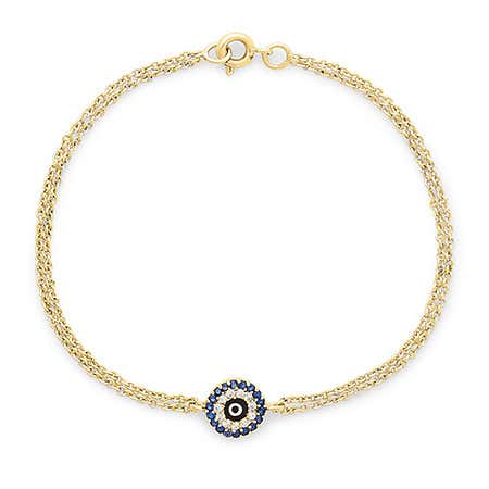 Gold Evil Eye Bracelet with CZ's | Gold Evil Eye Bracelet