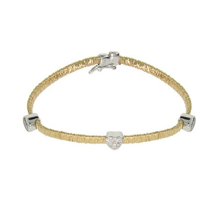 Magic Flex Gold Vermeil Bracelet with Bezel CZ and Heart | Eve's Addiction®