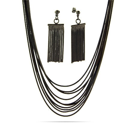 Ten Strand Hematite Snake Chain Earring and Necklace Set