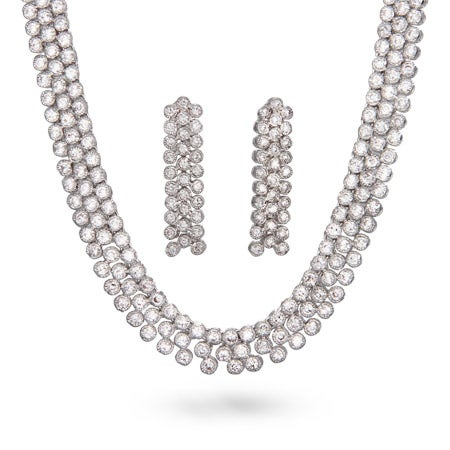Three Row CZ Necklace & Earring Set