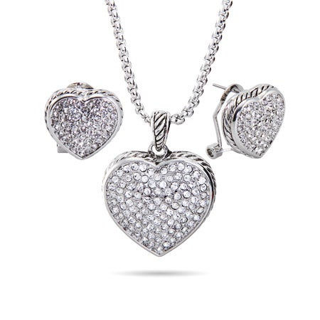 Designer Inspired Reversible Pave Heart Jewelry Set