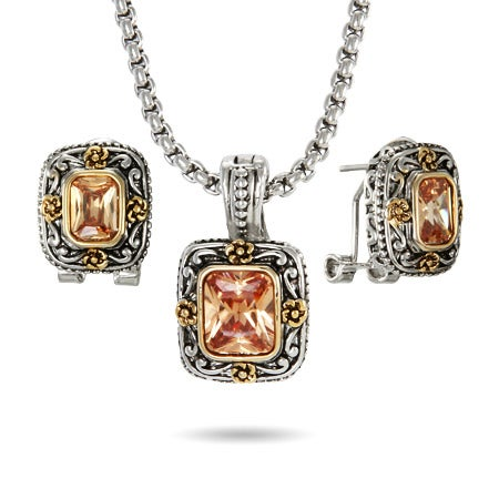 Asscher Cut Champagne Earring and Necklace Set
