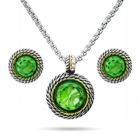 Peridot Round CZ Designer Inspired Necklace and Earring Set