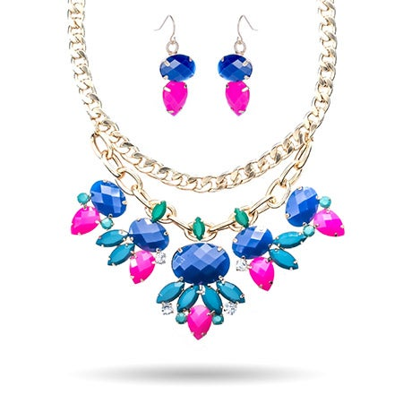 Hot Pink and Turquoise Bib Necklace Set
