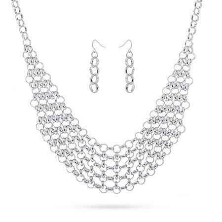 Round Link Chain Bib Necklace Set