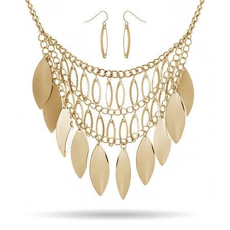 Golden Leaf Bib Necklace with Earrings