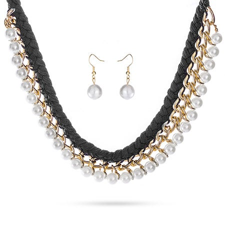 Braided Black Collar with Gold Links and Pearls Set | Eve's Addiction®