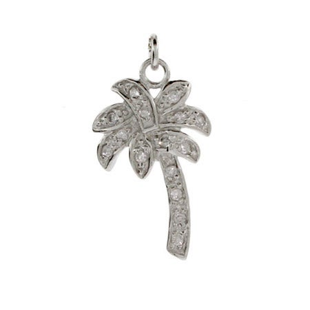 Sterling Silver CZ Palm Tree Charm