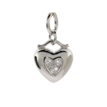 Sterling Silver CZ Heart Charm