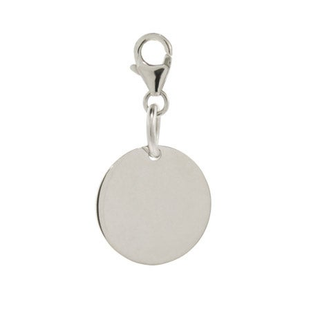 Small Sterling Silver Engravable Round Tag Charm