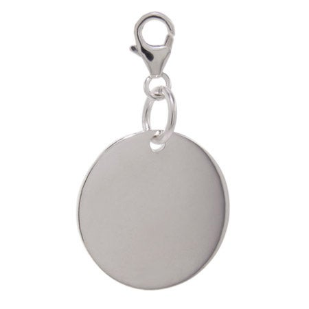 Designer Style Sterling Silver Engravable Round Tag Charm | Eve's Addiction®
