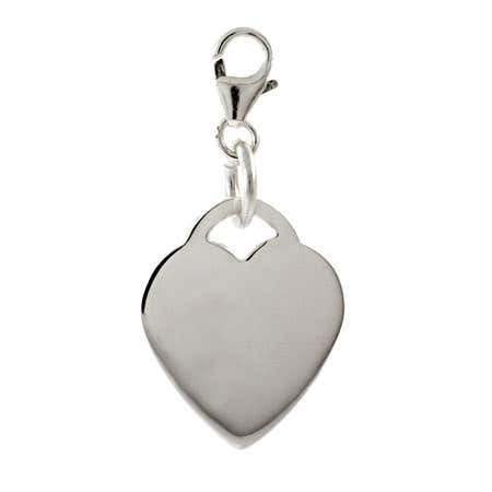 Sterling Silver Engravable Heart Tag Charm