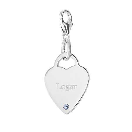 Engravable Solid Silver Heart Tag Birthstone Charm