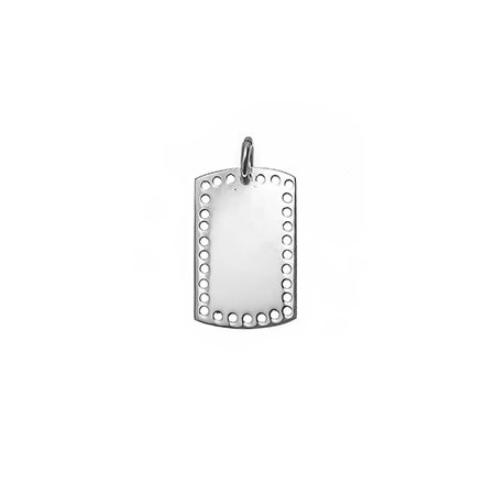 Petite Perforated Dog Tag Silver Charm