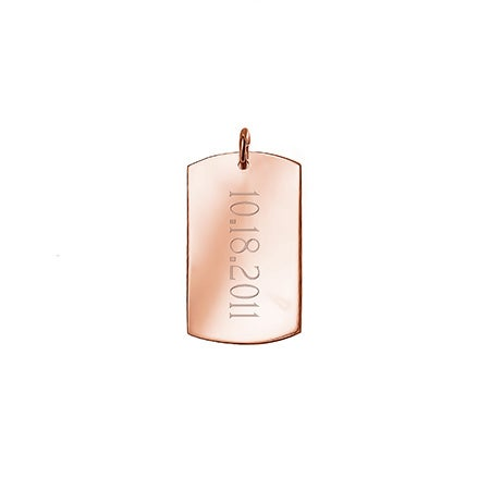Engravable Small Dog Tag Rose Gold Charm