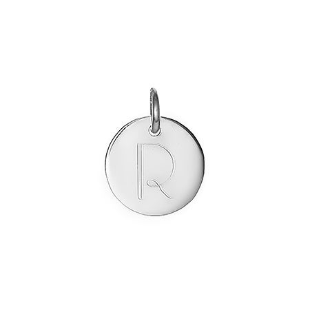 Petite Round Initial Silver Charm