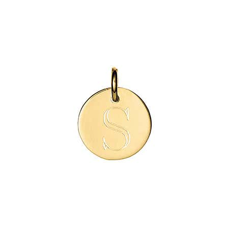 display slide 1 of 3 - Petite Gold Round Tag Initial Charm - selected slide